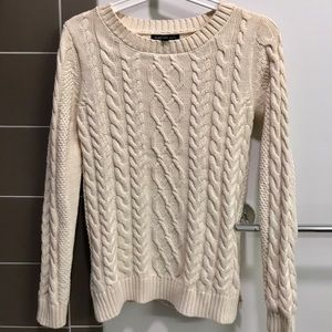 Mango white cable knit sweater